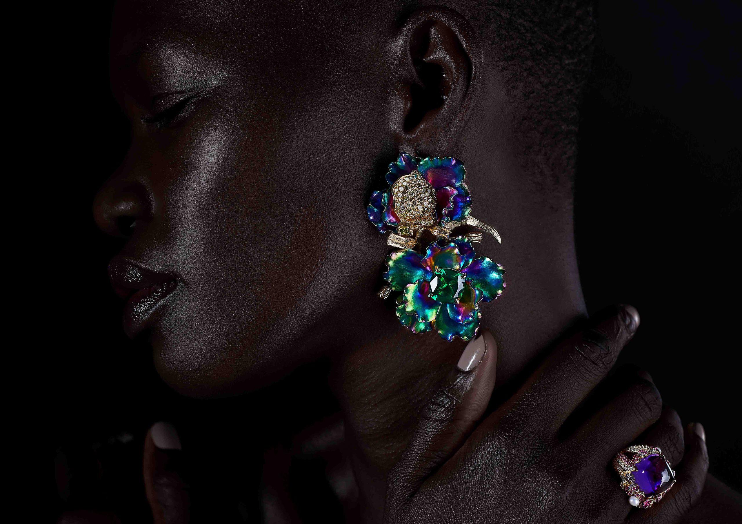 Rainbow Magnolia jewellery by Anabela Chan