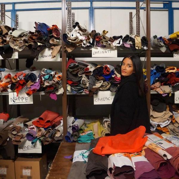 Shoe designer Amina Muaddi at her factory working on the shoeline Oscar Tiye